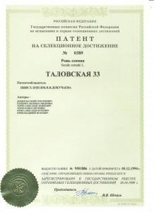 патент таловская 33