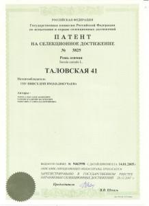 патент таловская 41